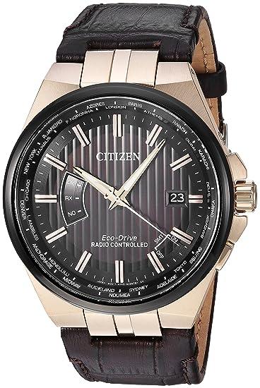 Citizen Reloj de hombre eco-drive 42mm correa de cuero color marrón CB0168-08E: Amazon.es: Relojes