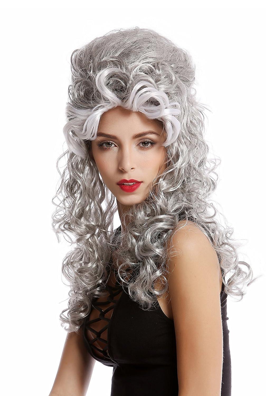 WIG ME UP ® - 90904-ZA63/ZA103+ZA62 Peluca Mujer Halloween Carnaval Barroco Renacimiento updo moño Gris mechones Negro Blanco Largo: Amazon.es: Juguetes y ...