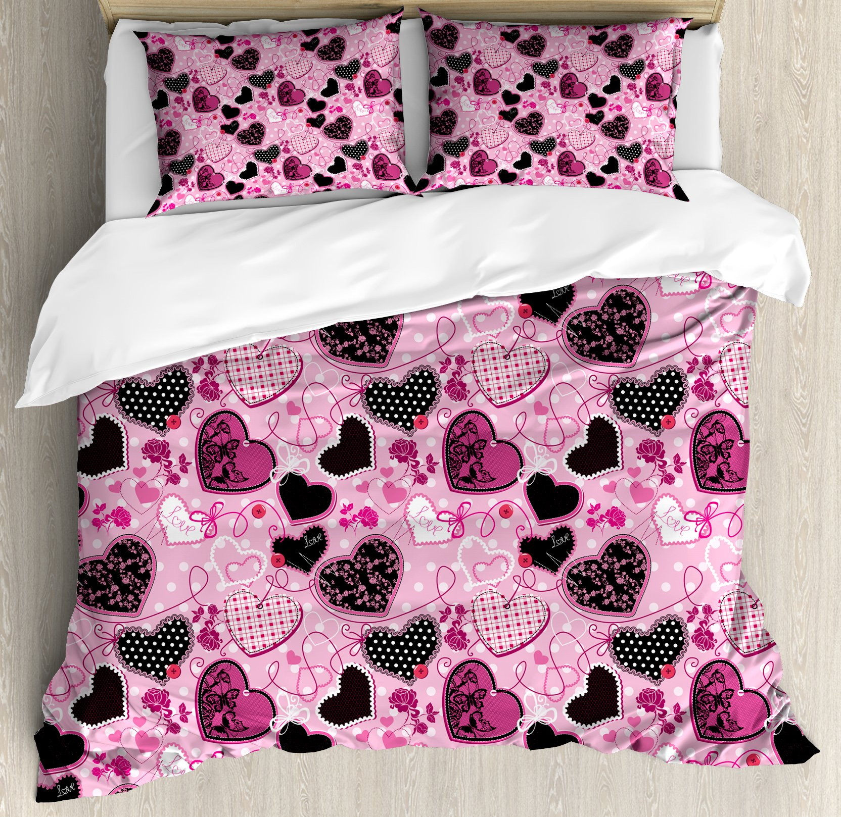 Hearts Queen Size Duvet Cover Set by Lunarable, Sewing Themed Love Symbols with Polka Dots Valentine's Day Inspired Image, Decorative 3 Piece Bedding Set with 2 Pillow Shams, Pink Black White