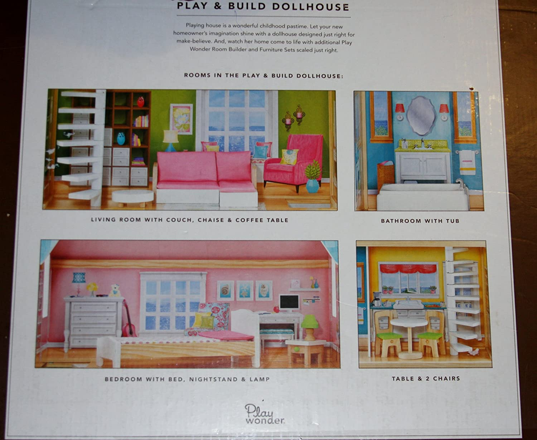 amazon com play wonder dollhouse with 10 piece accessory kit and amazon com play wonder dollhouse with 10 piece accessory kit and two spiral staircases toys games