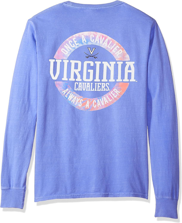 NCAA Virginia Cavaliers Adult NCAA Dyed Ringspun Longsleeve Tee with Pocket,Large,Periwinkle