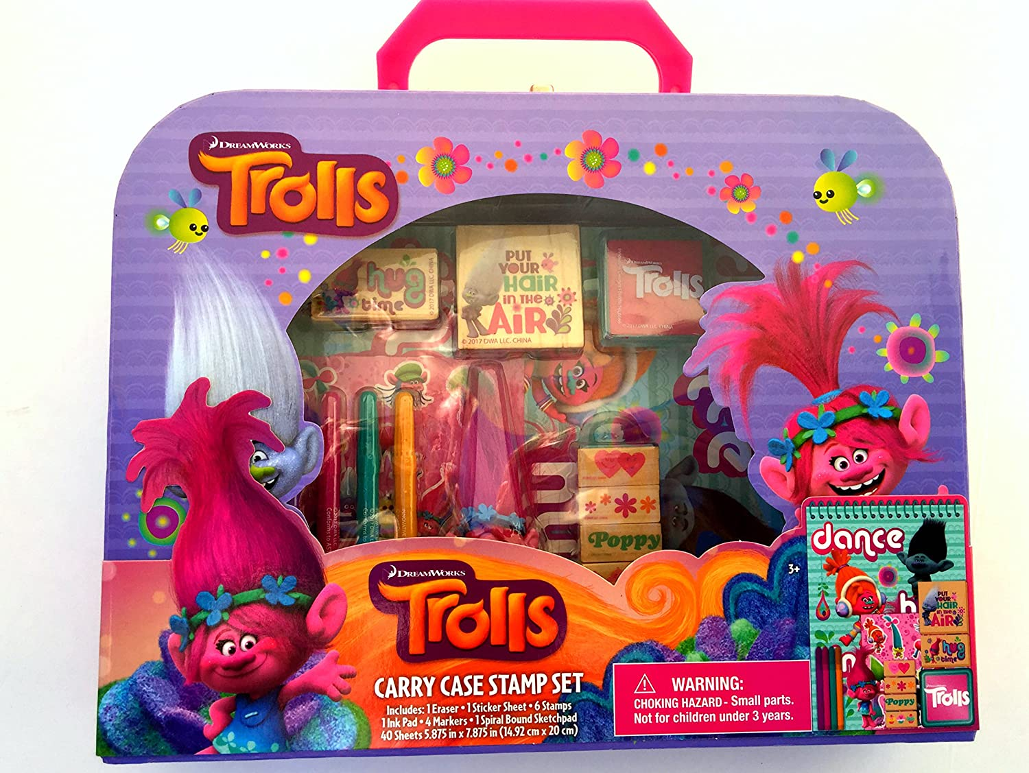 amazon com dreamworks trolls carry case stamp activity set with