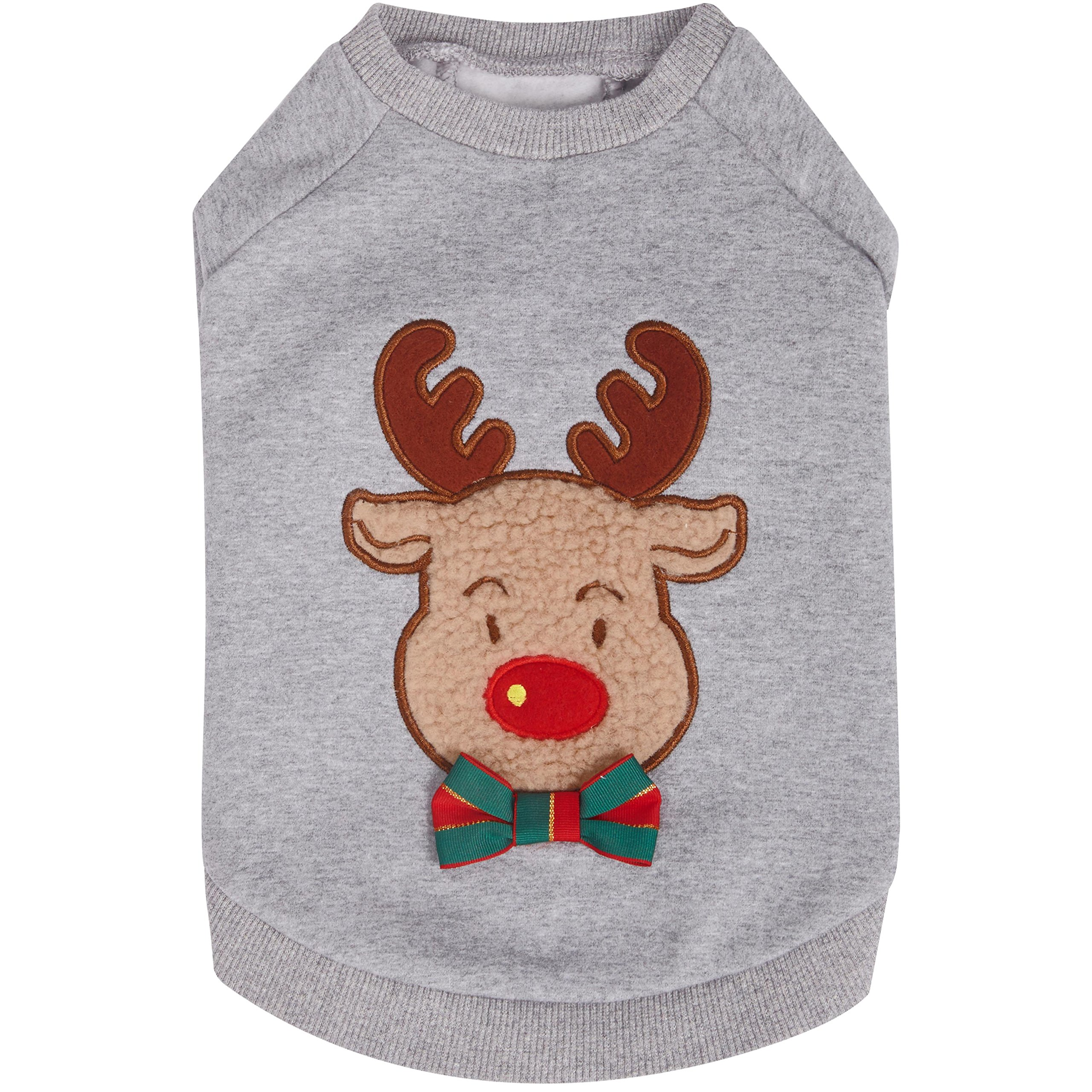 Blueberry Pet Soft & Comfy Ultimate All-weather Christmas Reindeer French Terry Dog Sweatshirt, Back Length 16'', Pack of 1 Clothes for Dogs