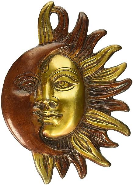 Amazon Com Aone India Orange Colored Wall Hanging Sun Moon Half