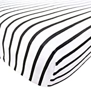 Premium Fitted Cotton Crib Sheet/Toddler Sheet City  Black and White Stripes by Copper Pearl