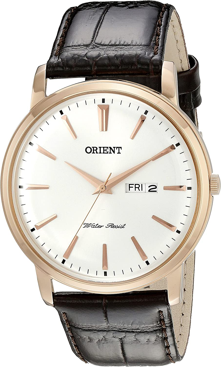 Orient Men s FUG1R005W0 Capital Analog-Display Japanese Quartz Brown Watch