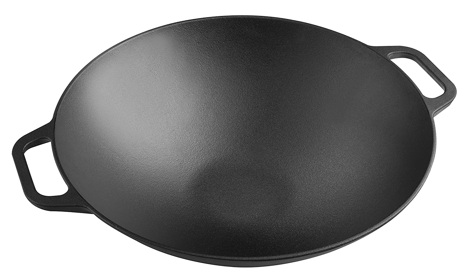 Victoria WOK-314 Smooth Balanced Base Cast Iron Seasoned Wok with Wide Handles, Large/14, Black, 100% NON-GMO Flaxseed Oil Seasoning Large/14