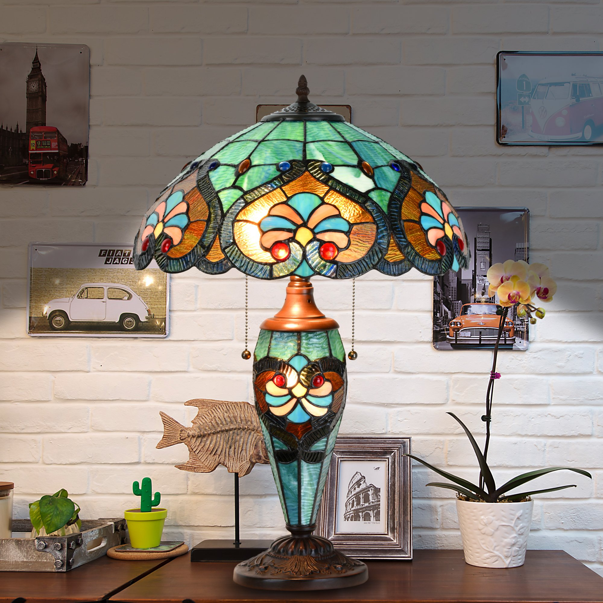Cloud Mountain Tiffany Style 16'' Lampshade Table Lamp Victorian Jeweled Double Lit Desk Lamp Stained Glass Home Decor Lighting
