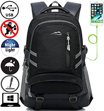 66677f4e3c Backpack Bookbag For School College Student Travel Business With USB  Charging Port Water Resistant Fit Laptop