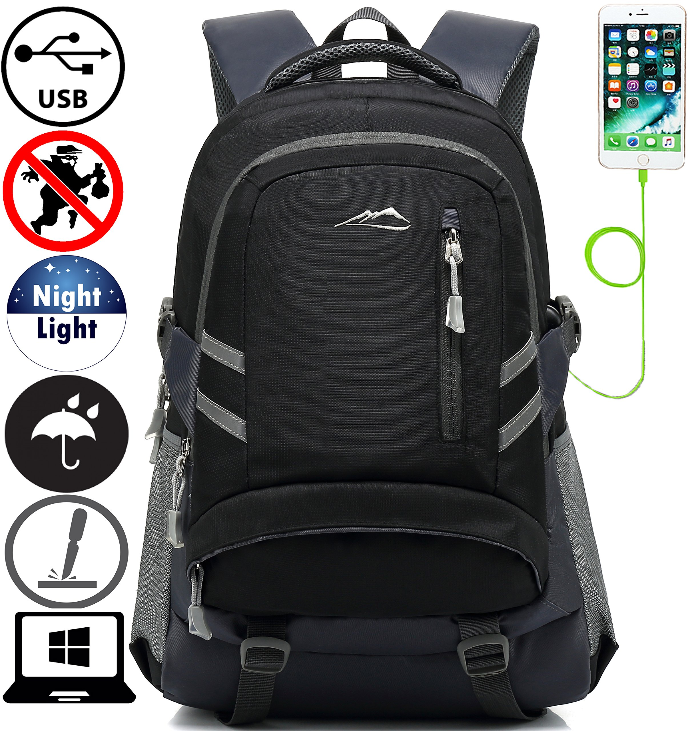 Backpack Bookbag For School College Student Travel Business With USB Charging Port Water Resistant Fit Laptop Up to 15.6 Inch Anti theft Night Light Reflective (Black)