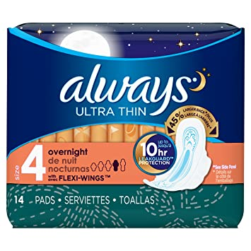 Amazon.com : Always Pads Size 4 Ultra Thin 14 Count Overnight (6 Pack) : Beauty