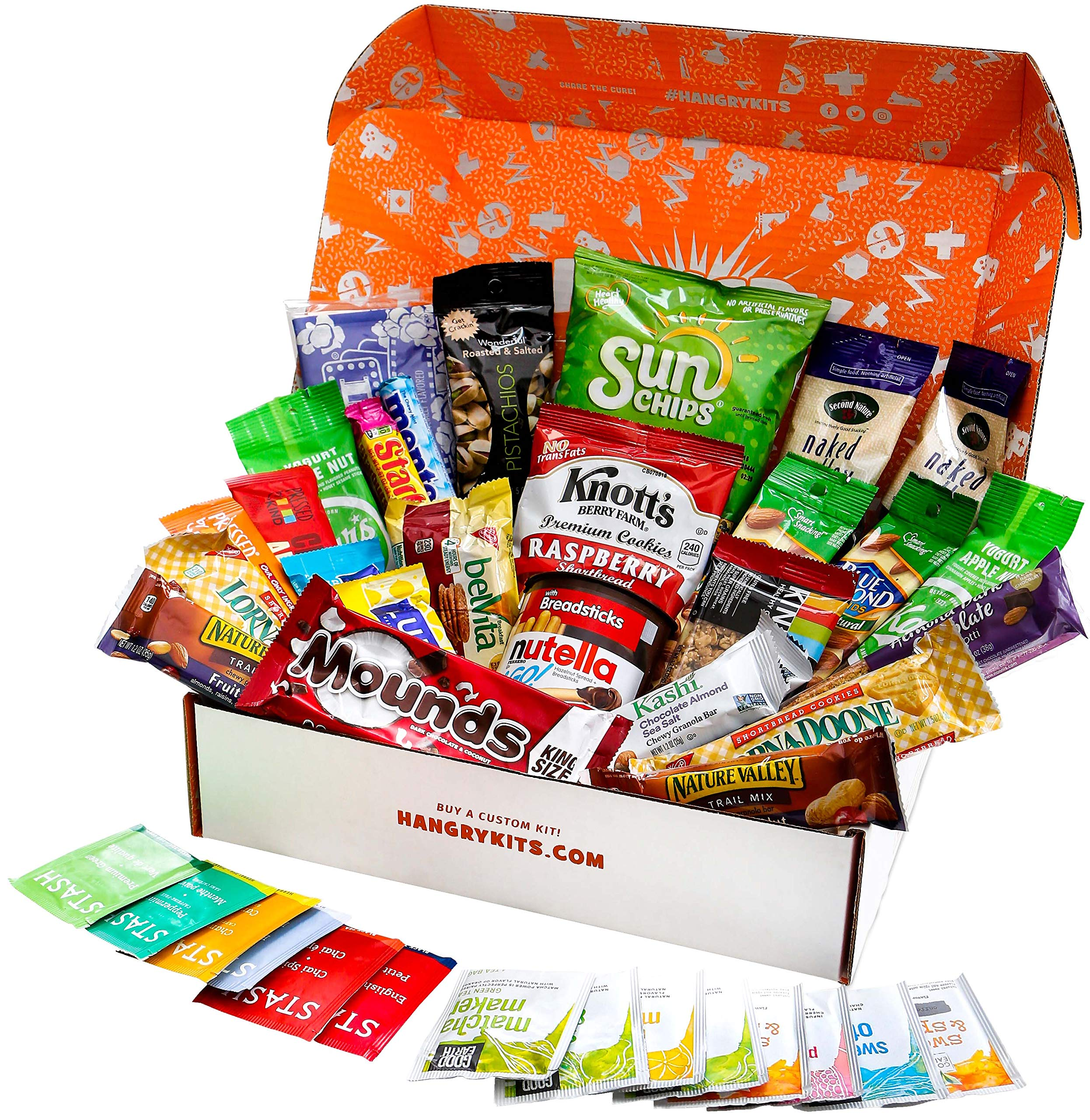HANGRY KIT - Woman kit - Care Package - Gift Pack - Variety of 42 Bars, Teas, Candies,Cookies and other Snacks Included - 100% Guaranteed by Hangry Kit (Image #1)