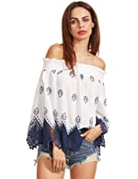 Floerns Women's Long Sleeve Off Shoulder Boho Blouse Top
