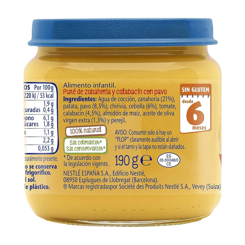 Nestlé Selección puré de verduras y carne, variedad Zanahoria y Calabacín con Pavo - Para bebés a partir de 6 meses - Paquete 6 Tarritos de 190g: Amazon.es: ...