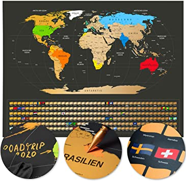 Amazon De Weltkarte Zum Rubbeln Rubbel Weltkarte Deutsch