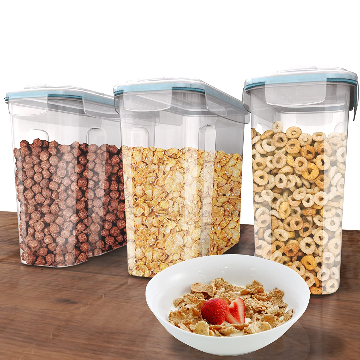 Plastic Cereal Containers 3 Pc (16.9 Cup/135.2oz) + FREE 18 Chalkboard Labels & Marker - Airtight Dry Food Keepers - Great For Cereal, Flour, Sugar & More - BPA Free Dispenser Shazo 43219-94340