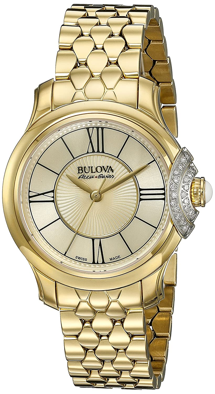 Bulova Accu Swiss Damen-65r160 Diamant Gold Watch: Amazon.de: Uhren