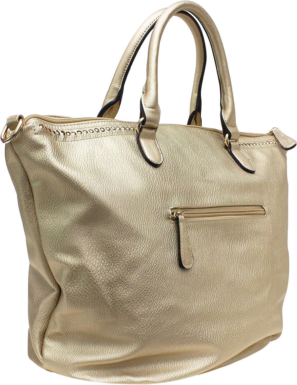 Top Handle Solid Shopper Bag with Detachable//Adjustable Shoulder Strap