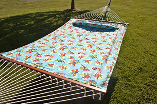 Quilted Fabric Hammock,Hardwood Spreader Bars, Poly Fiber Stuffing Pillow,Outdoor Polyester,Including 2 X O-Ring, Accommodate 2 People 450 lb