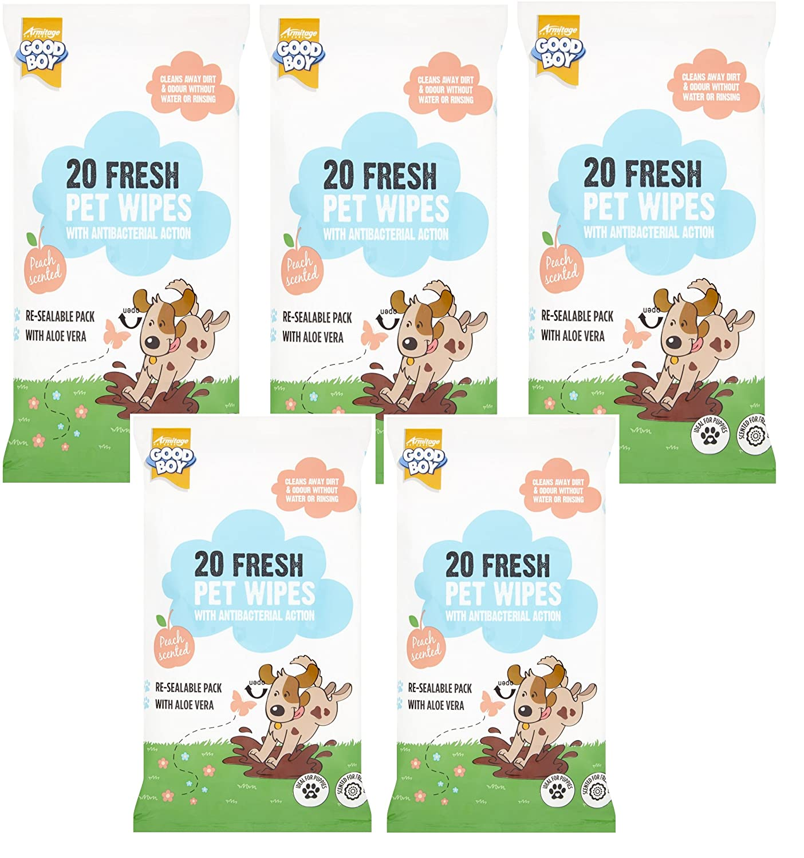 100 Goodboy anti bacteriano Peach perfumada perro cachorro mascota toallitas: Amazon.es: Productos para mascotas