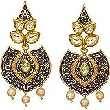 Bindhani Indian Style Meenakari Chandbali Bollywood Kundan Gold Plated Pearl Drop Earrings For Women