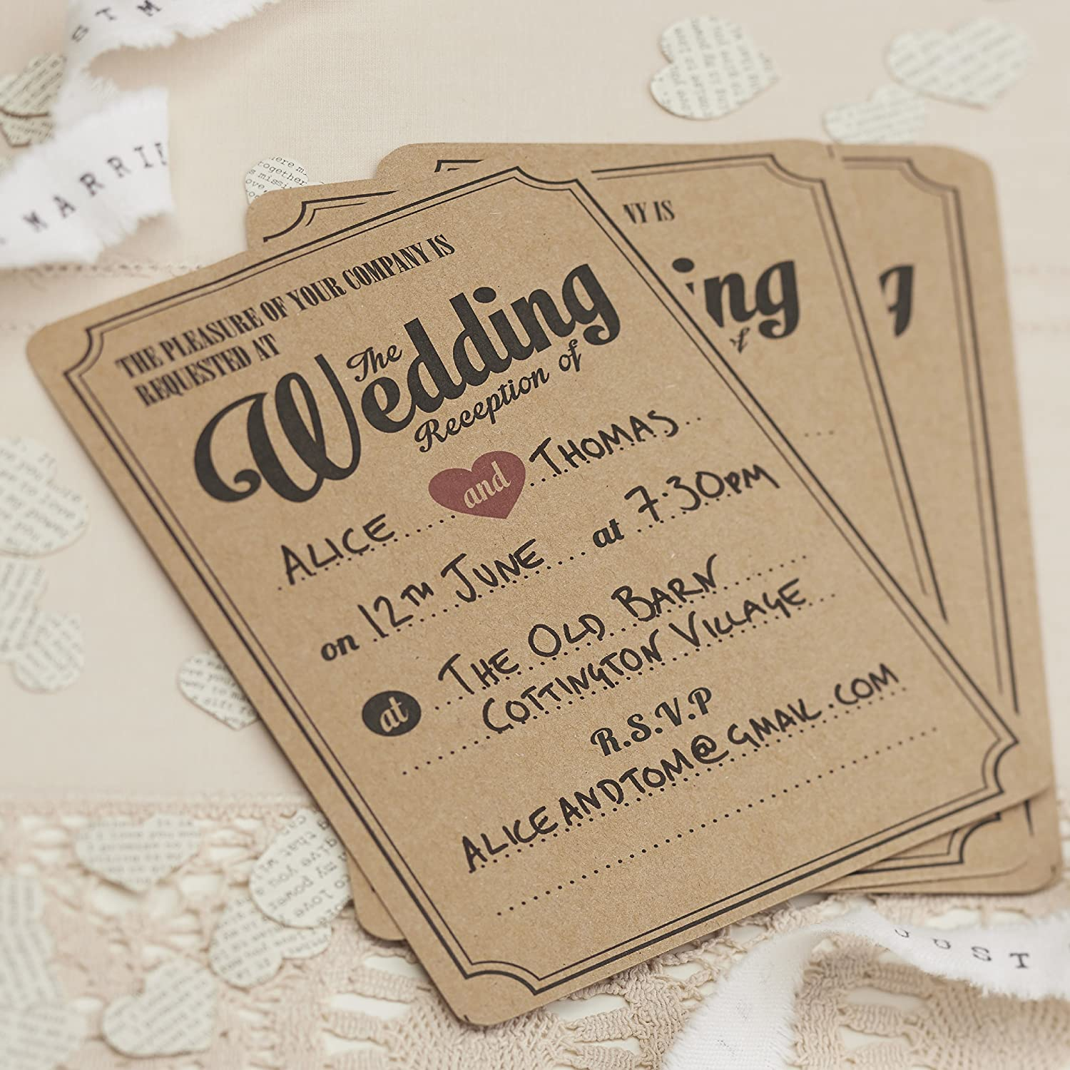ginger ray evening wedding reception brown kraft wedding invitations x 10 vintage affair amazoncouk kitchen home - Wedding Invitations Vintage