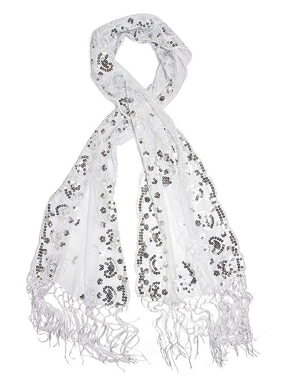 Shawls & Wraps | Vintage Lace & Fur Evening Scarves Bohomonde Madison Shawl Long Fringe Sequin Evening Wrap $16.95 AT vintagedancer.com