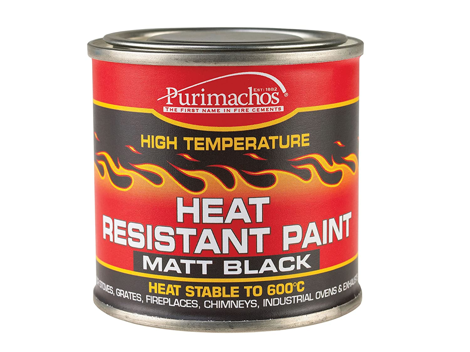 Everbuild EVBPCHP125 125 ml Heat Resistant Paint - Matt Black Toolbank PCHEATPNT1-EBD