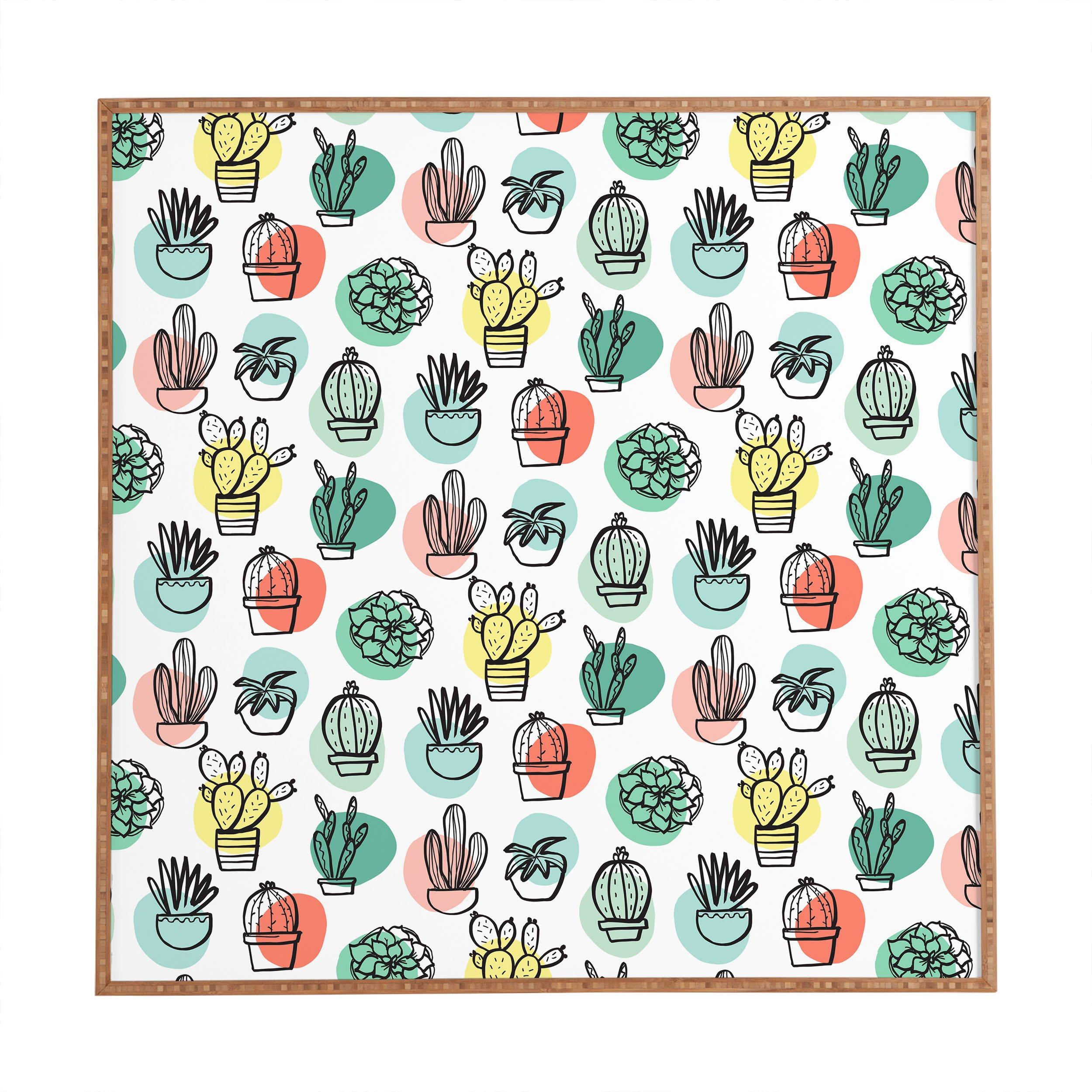 Deny Designs Zoe Wodarz, Summer Days Cactus, Framed Wall Art, Large, 30'' x 30''