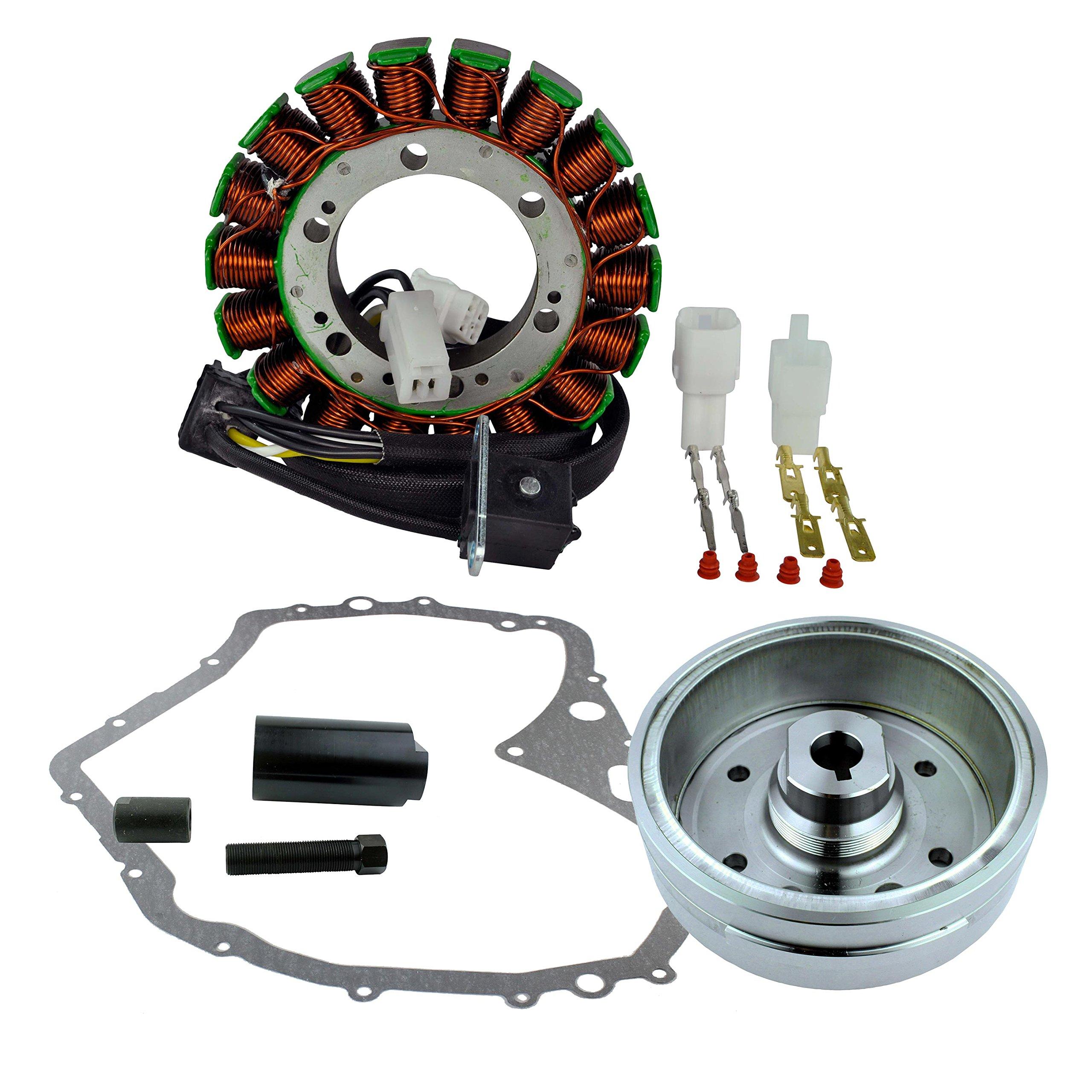Kit Improved Flywheel + Flywheel Puller + Stator + Crankcase Cover Gasket For Arctic Cat 400 Manual 2003-2008 / Suzuki LTF 400 Eiger 2002-2007