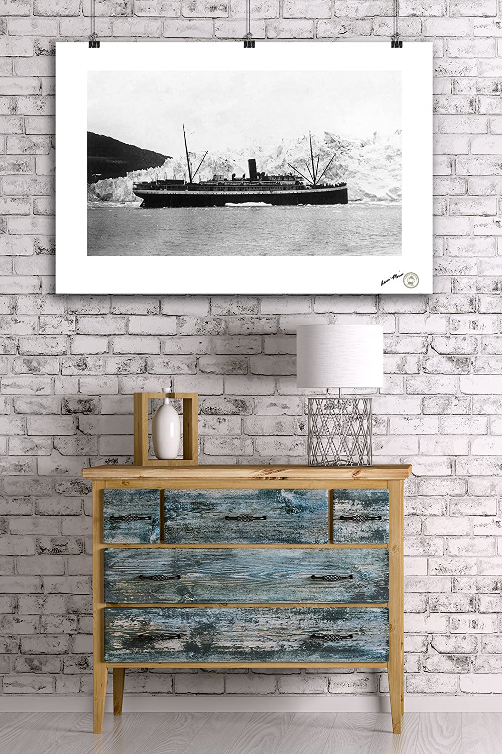 Columbia Glacier 24x36 Giclee Gallery Print, Wall Decor Travel Poster Alaska View of a Steamer in Front of Glacier