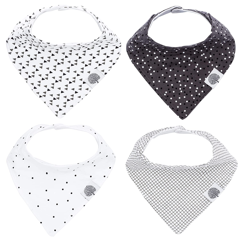 Baby Bandana Drool Bibs by The Good Baby - 4 Pack Organic Cotton - Baby Bib Gift Set for Boys, Girls or Unisex (Unisex) TGB113