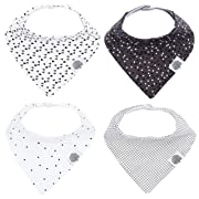 Parker Baby Bandana Drool Bibs - 4 Pack Gray Baby Bibs for Boys, Girls, Unisex - Shadow Set