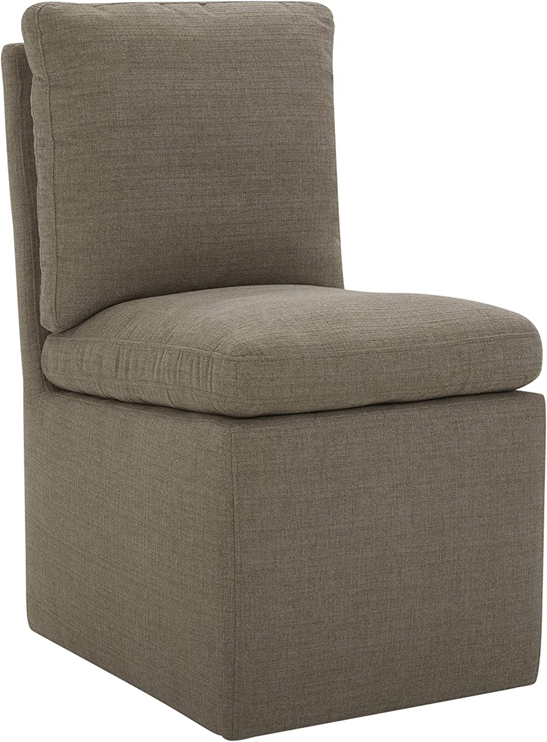 """Amazon Brand – Stone & Beam Vivianne Modern Upholstered Armless Dining Chair with Casters, 19.7""""W, Slate"""