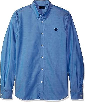 Fred Perry Hombres camisa corte de cinta de algodón Azul Medio XL: Amazon.es: Ropa y accesorios