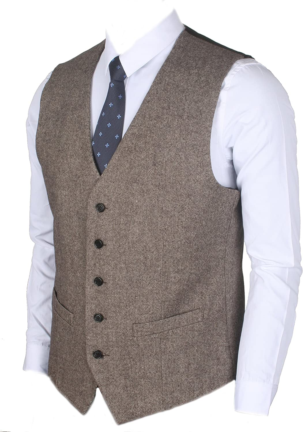 Men's Vintage Vests, Sweater Vests Ruth&Boaz 2Pockets 5Buttons Wool Herringbone/Tweed Tailored Collar Suit Waistcoat £29.90 AT vintagedancer.com
