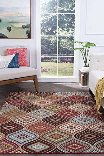 Tayse Cullen Multi-Color 9×12 Rectangle Area Rug for Living, Bedroom, or Dining Room – Contemporary, Geometric