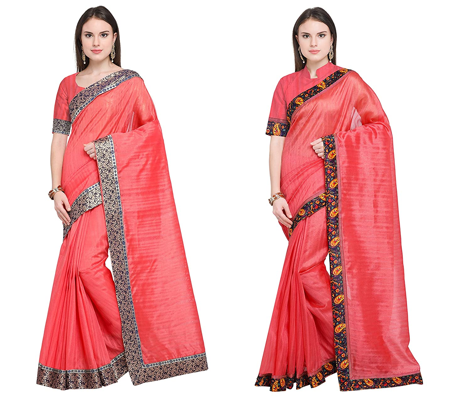 Florence Women's Peach Bhagalpuri Silk Combo Saree With