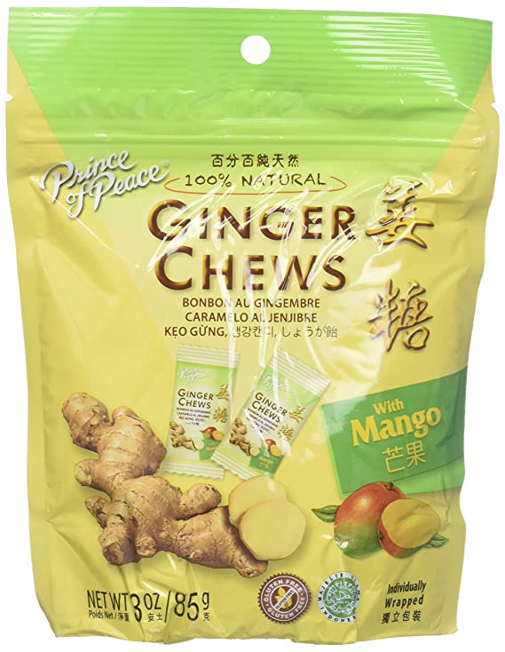 Amazon.com : 5 Packs of Prince Of Peace 100 Percent Natural Ginger Candy Chews (Mango, 3 ounce) : Grocery & Gourmet Food