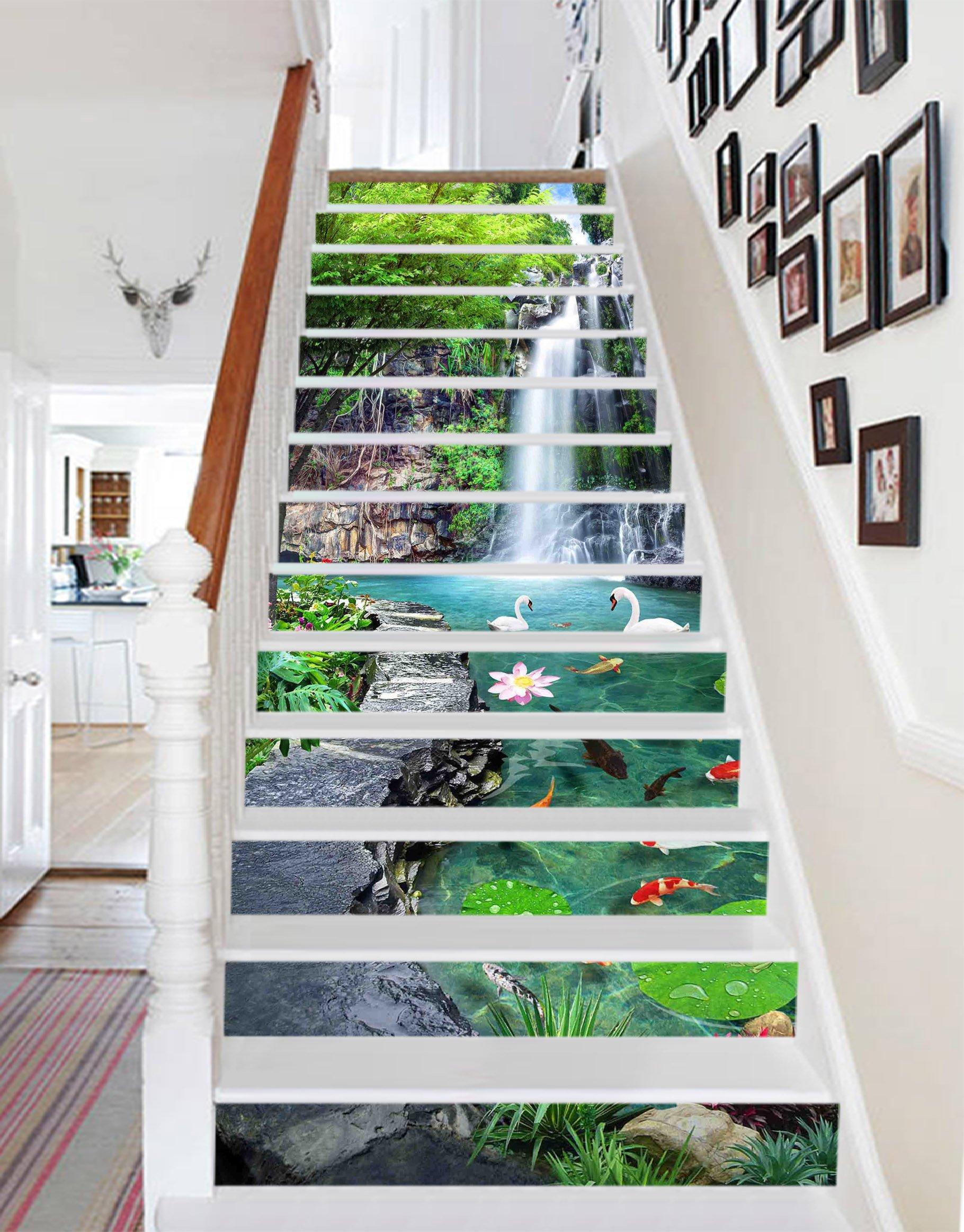 3D Waterfall Tree Nature 531 Stair Risers Decoration Photo Mural Vinyl Decal Wallpaper Murals Wallpaper Mural US Lemon (13x H:18cm x W:94cm (7''x37''))