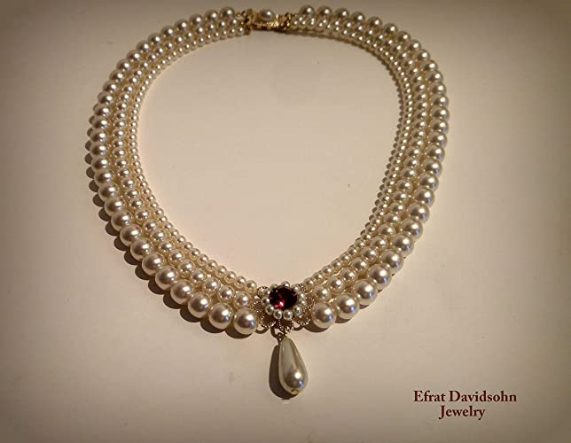 446a6859450d6 Amazon.com: Wedding Set Pearls and Ruby Red Stone soft white Cream ...