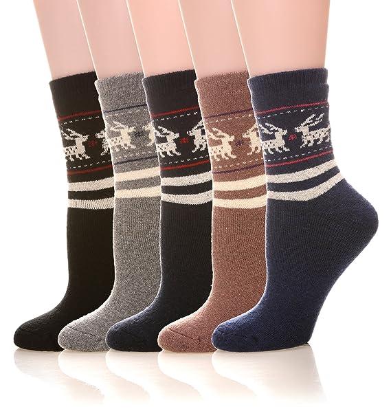 DoSmart Women s Comfort Wool Super Thick Warm Winter Crew Socks- 5  Packs(Deer) 1fbcbe87aa