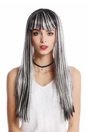 WIG ME UP ® - 90770-ZA68C+ZA103 Peluca mujer Halloween Carnaval gris liso