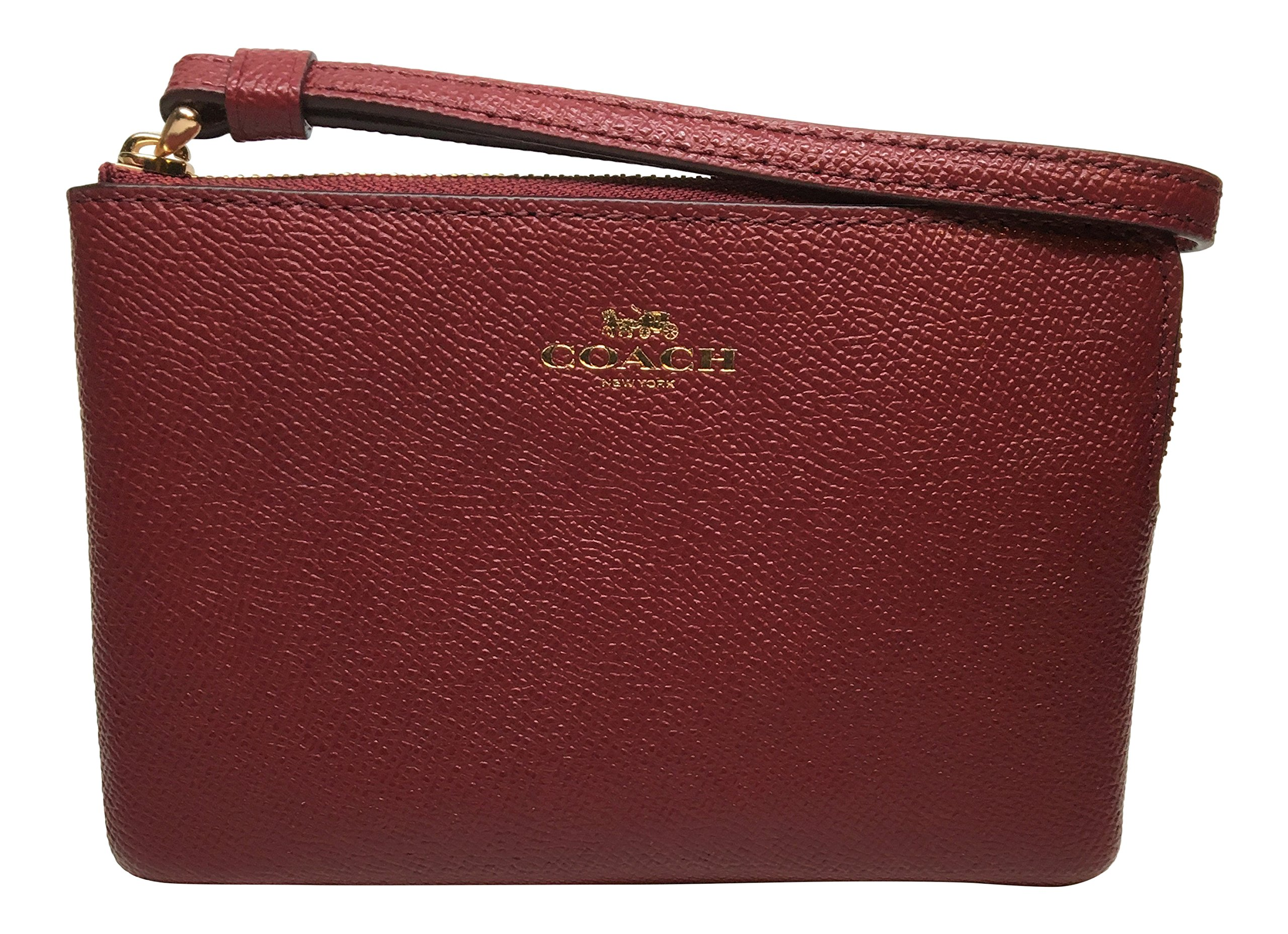 Coach Crossgrain Leather Corner Zip Small Wristlet Crimson F58032