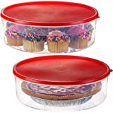 "2 Pack - Zilpoo Plastic Round Food Storage Containers with Lid, 10.5"" Covered Pie Keeper, Christmas Cookie, Cupcake…"