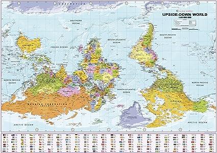 Mapa de pared política del mundo al revés - papel de 39,5 x 27,5 cm: Amazon.es: Amazon.es