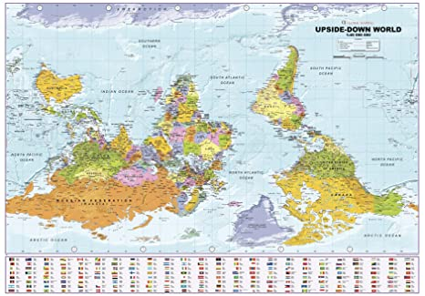 Upside Down World Map Amazon.: Upside Down World Political Wall Map   39.25