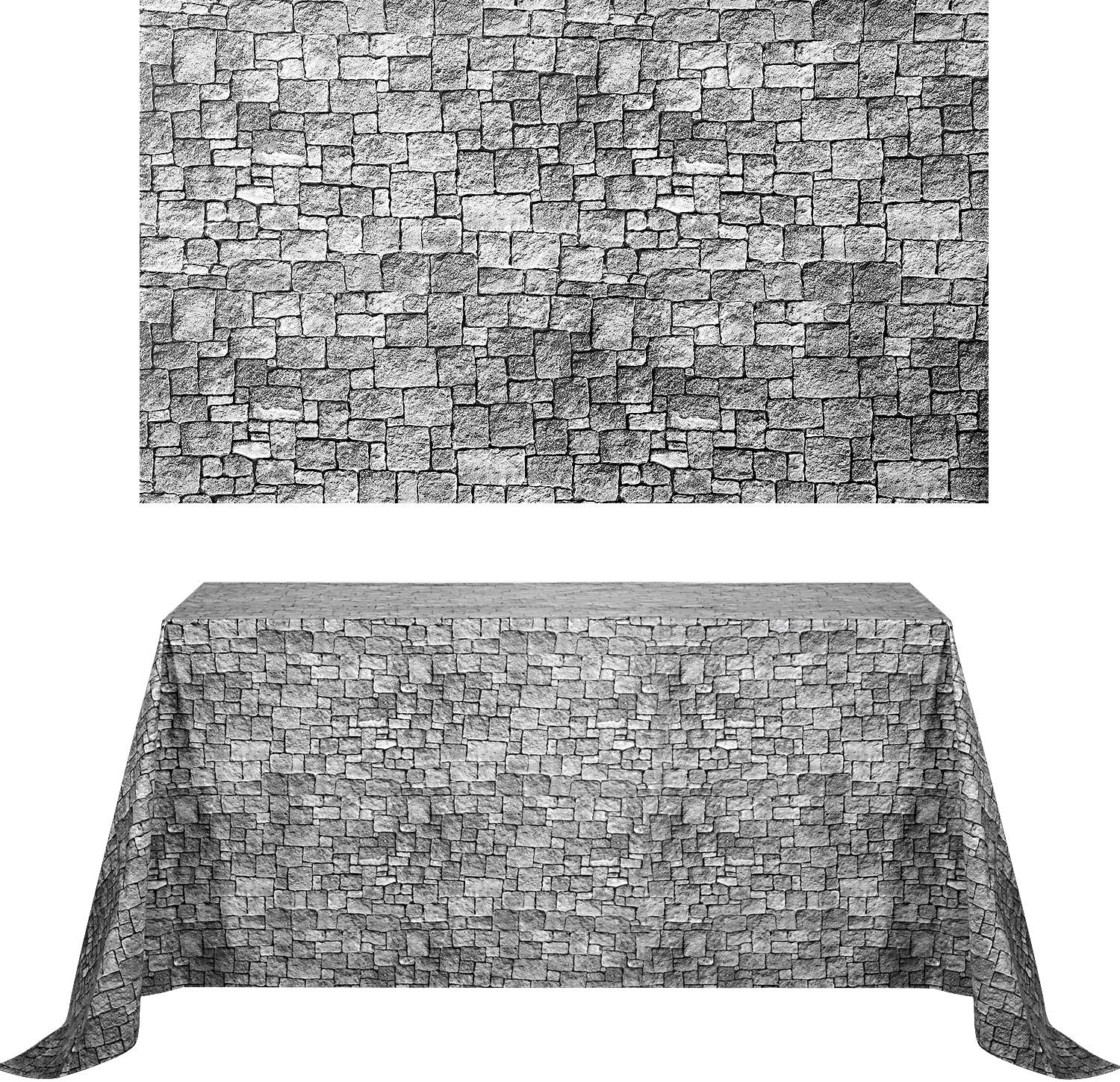 Chuangdi 2 Sheets 4.5 x 9 Feet Brick Wall Backdrop Stone Tablecloth Photo Brick Decal Wallpaper for Winter/Christmas Party (Grey Brick)