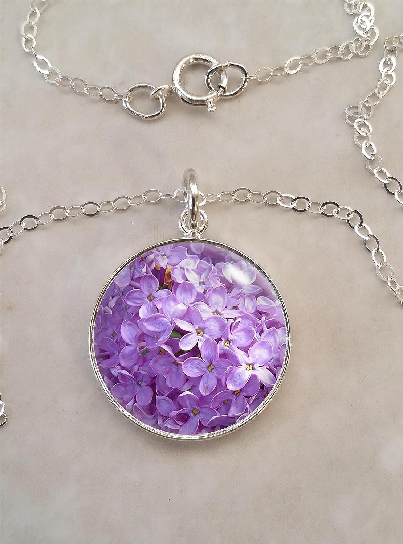 Beautiful Sterling silver 925 sterling Sterling Silver Amethyst Flower Pendant w// 16 Chain