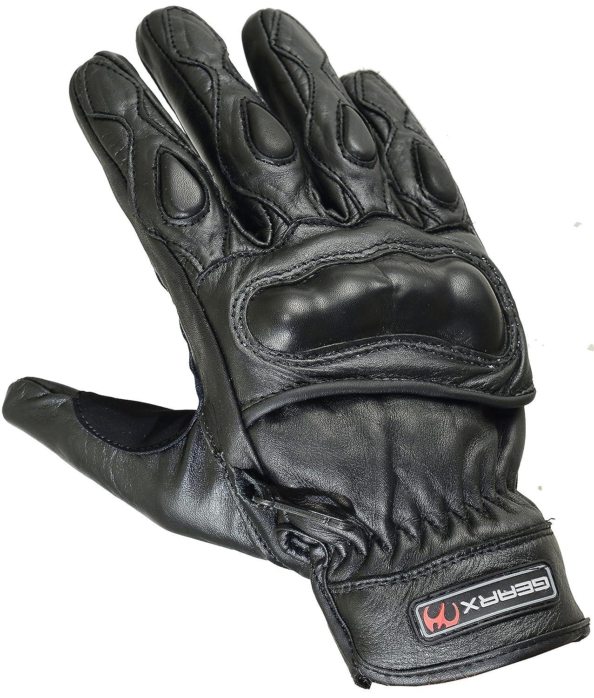Court Été Réal Cuir Gants Moto Articulation Coquille Protection, Noir, XL